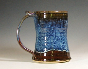 Beer tankard ceramic, coffee mug, stein cup, glazed in brown blue, handmade stoneware by hughes pottery