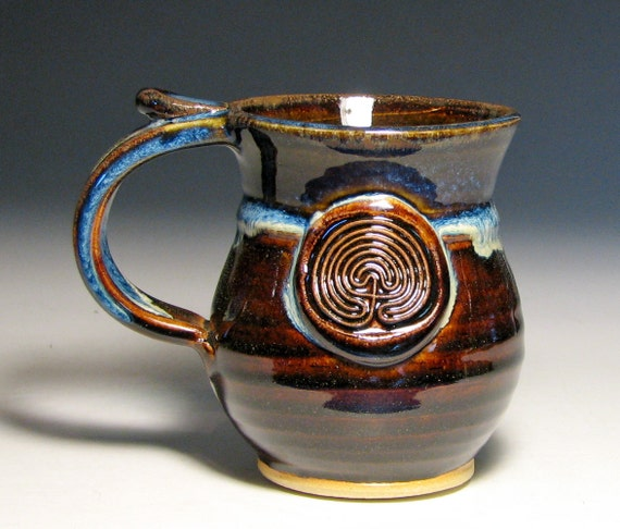 Coffee Mug Ceramic Labyrinth Maze Small Tea Cup Glazed In