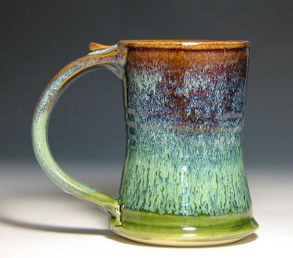 Beer mug tankard stein cup ceramic stoneware glazed in green