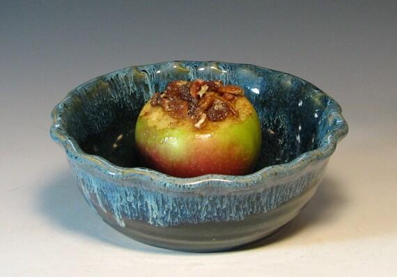 Apple baker stoneware ceramic baking holiday entertaining, glazed in blue cream, handmade by hughes pottery