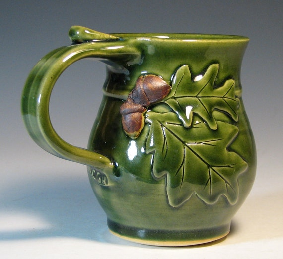 Coffee cup ceramic acorn oak leaf, holiday decor, glazed in green, handmade stoneware by hughes pottery