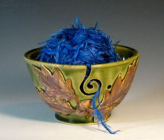 SALE yarn bowl knitting crochet ceramic stoneware, oak leaf acorn, glazed in green, handmade by hughes pottery