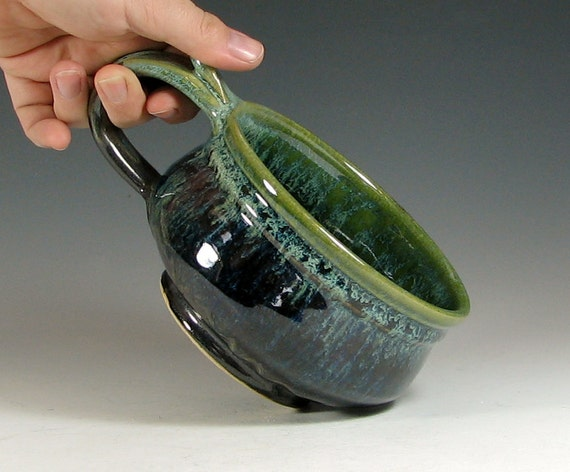 Soup mug ceramic, handled bowl for chili, glazed in metallic gray green, handmade stoneware by hughes pottery