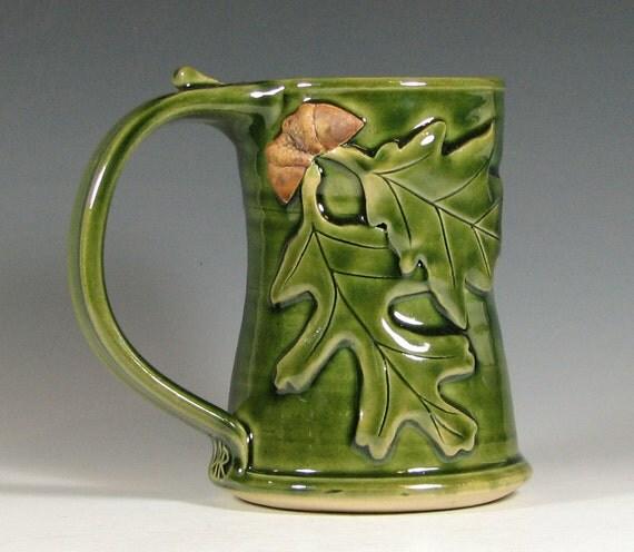 Coffee mug ceramic, beer tankard stein, tea cup, oak leaf acorn, glazed in green, handmade by hughes pottery