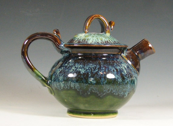 Sale Teapot Ceramic Handmade Glazed In Green Moss And Brown
