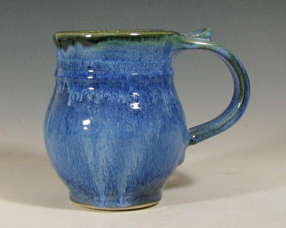 Coffee mug ceramic, tea cup, glazed in sapphire blue, handmade stoneware by hughes pottery