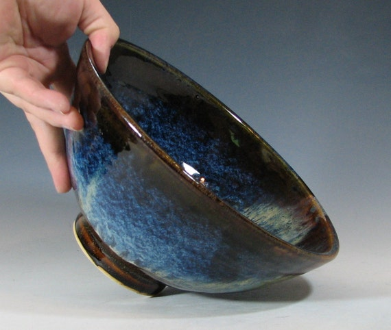 Bowl serving ceramic, home decor, entertaining display, glazed in brow blue, handmade stoneware by hughes pottery