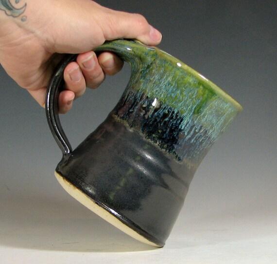 Beer tankard ceramic, coffee mug, stein cup, glazed in green black, handmade stoneware by hughes pottery