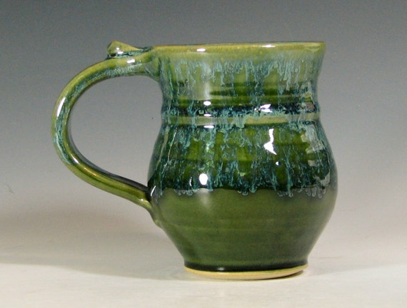 Reserved for Julia- Coffee mug, hand made, tea cup pottery, glazed in green moss, ceramic stoneware by hughes pottery hand made