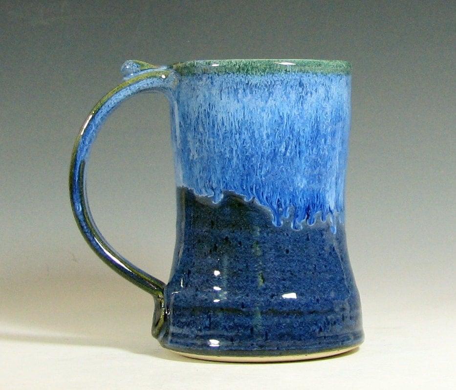 Coffee Mug Beer Tankard Stein Cup Ceramic Glazed In Sapphire