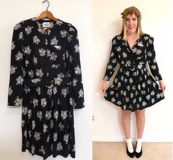 Long Sleeves Dress - Black and White Floral Mini - Size Medium Large