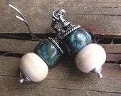 Earthy Beach Lampwork Glass and Bali Silver Earrings - 1048