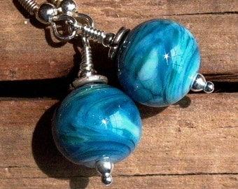 Bright Blue Swirled Lampwork Glass & Sterling Silver Earrings - 1070