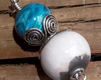 Bright Blue Lampwork Glass & White Clay and Bali Silver Pendant - 1069