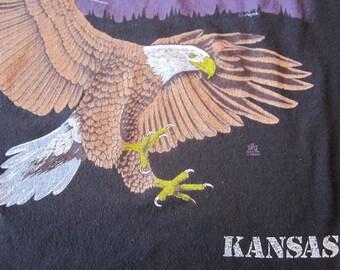 Black Vintage Bald Eagle Kansas Tshirt