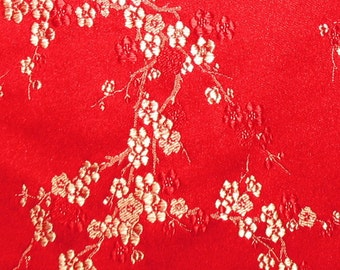 "Red Satin Jacquard Floral Print in Gold and Red  (16"" X 54"")  Final Qty"