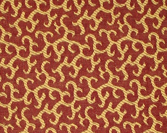 Brick Red with Gold Swirl Woven Jacquard Print   (1 Yd)