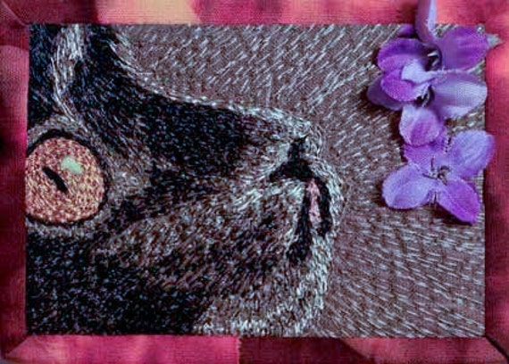 Black cat with purple flowers - reserved for Margo