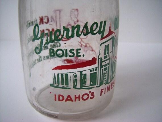 Vintage Milk Bottle - Guernsey Dairy Boise, Idaho