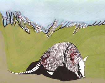 ARMADILLO 5x7 *SALE* (Giclée Print of Original Ink + Colored Pencil Drawing)