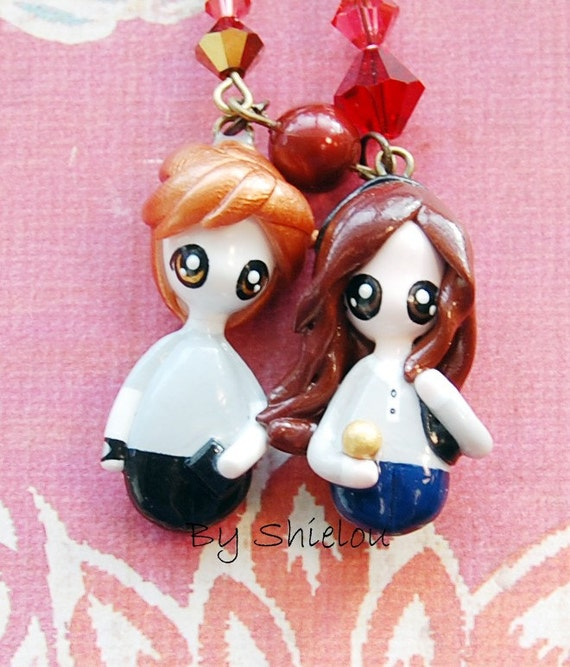 Mini Bella and Edward BIOLOGY Necklace