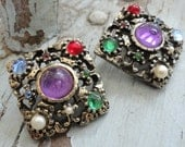 Square Vintage Earings with Jewel Tone Glass Cabochons Seed Pearls