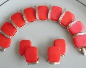 Orange and Gold Bracelet Earrings Vintage Lisner Set