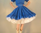 Royal Blue and White Calico Trimmed in Eyelet Vintage Lolita Dress Country Western Square Dance 1960s 1970s Size Medium