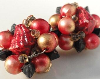 Vintage Beaded Earrings Red Black Gold