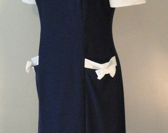 Navy Blue with White Bows Vintage Dress 1980s