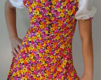 Floral Vintage Mini Dress in Pink Orange Yellow and Purple 1960s 1970s