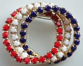 Red White and Blue Rhinestone Triple Ring Vintage Brooch Pin