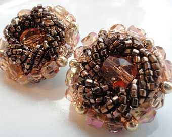 Bronze and Gold Multi Beaded Vintage Earrings