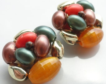 Green Gold Bronze and Coral Vintage Beaded Earrings