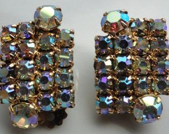 Champagne Rhinestone Vintage Earrings with an Aurora Borealis Coating