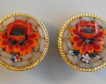 Vintage Mosaic Flower Earrings
