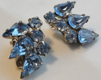 Icy Blue Vintage Rhinestone Earrings