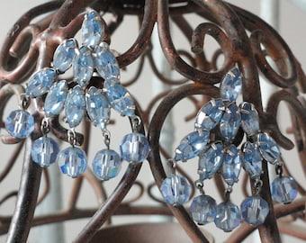 Pale Blue Weisner Rhinestone Dangle Vintage Earrings