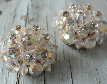 Multi Faceted Glass Beaded Vintage Earrings with Rhinestone Accents