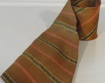 Copper Bronze Gold Black and Pink Striped Vintage Neck Tie