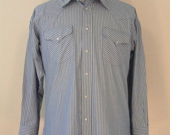 Blue and White Striped Mens Vintage Western Snap Shirt 1980s