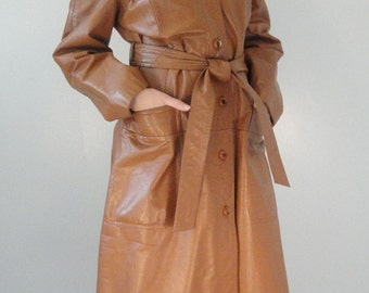 Long Tan Leather Vintage Trench Coat 1960s 1970s