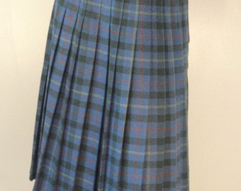 Blue and Green Plaid Vintage Pleated Skirt  1980s