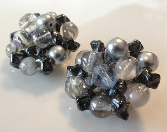 Shades of Grey Vintage Beaded Earrings
