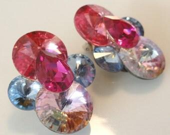 Pink and Blue Oversized Rhinestone Vintage Earrings