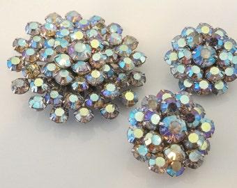 Blue Aurora Borealis Rhinestone Earrings and Brooch Vintage Matching Set