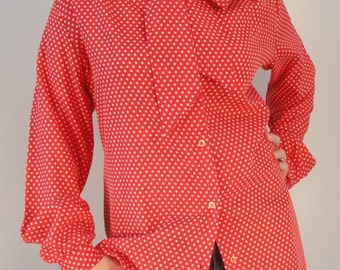 Red with White Polka Dots and Tie Bow Vintage Secretary Blouse 1970s 1980s Size Large