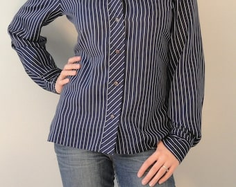 Navy with White Pinstripes Vintage Blouse Shirt 1970s Size 14 Medium/Large