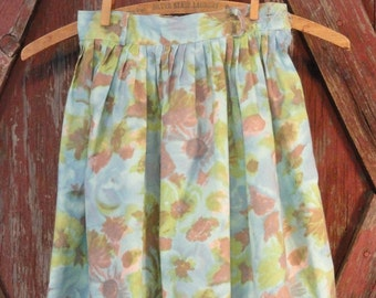 Flowered Vintage Girls Skirt in Turquoise Green Blue and Brown 1960s