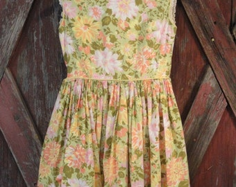 Floral Vintage Girls Sleeveless Dress in Green Yellow  Pink and Coral 1950s 1960s